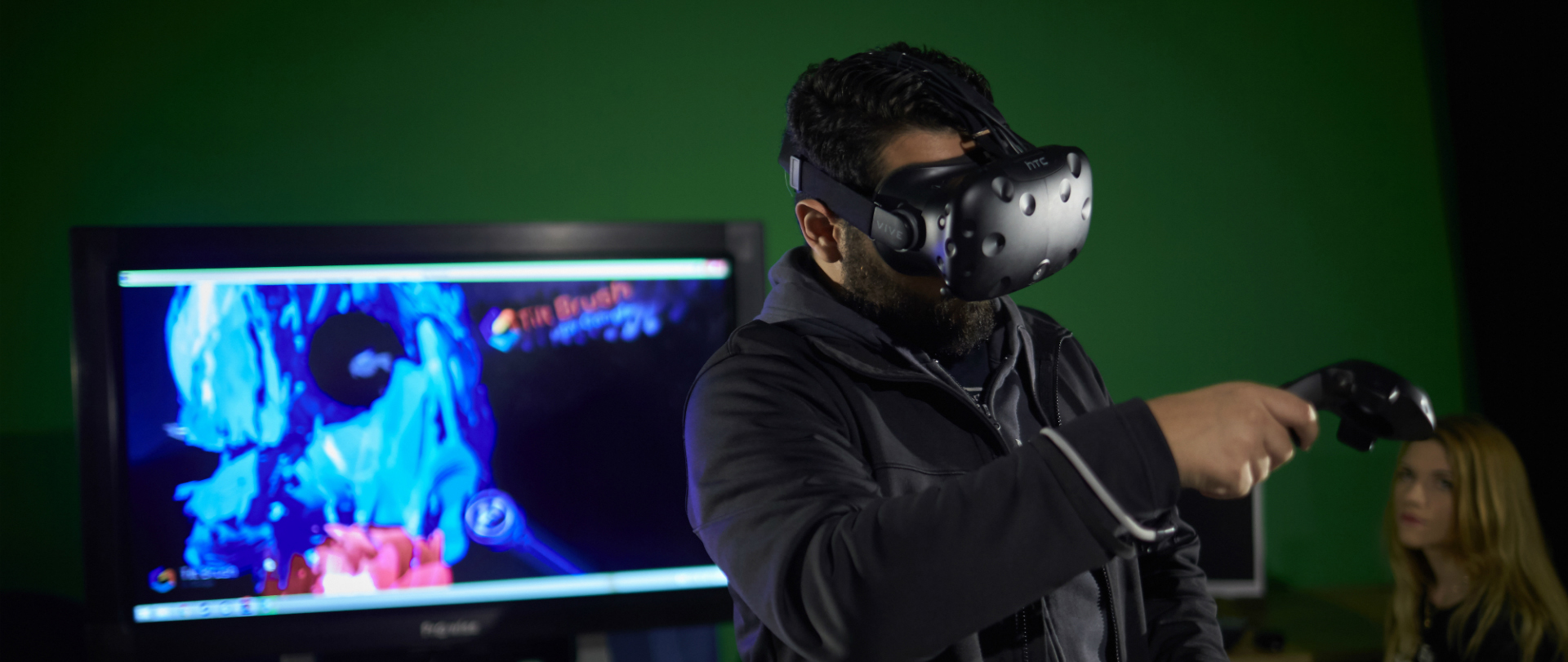 Man in a vr headset playing games